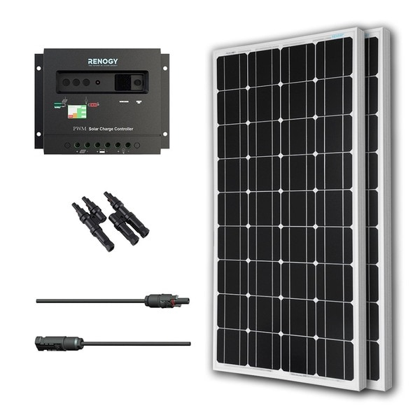 Renogy Solar Panel Bundle Mono 200W with 2 100W Panels/ 30A Controller/ MC4 Branch Connector/ MC4 Adapter Kit