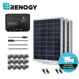 Renogy Solar Panel Starter Kit 300W with 3 100W Poly Sol Pan/ 20' Ad Kit/ 30A Chg Con/ MC4 Br Conn/ Z Br