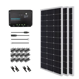 Solar Panel Starter Kit Mono 300W with 3 100W Panels/ 20 ft. Adaptor Kit/ 30A Controller/ MC4 Branch Connector/ Z Bracket