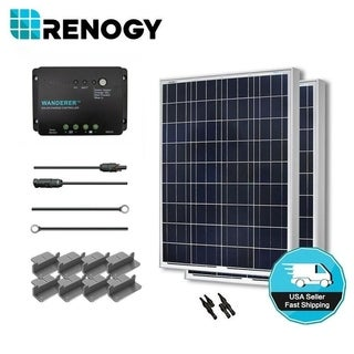 Renogy Solar Starter Kit: 200W Polycrystalline 12V with 2 100W Solar Panel/ 20' Ad/ 30A Charge Cont/ MC4 Adaptor/ Z Bracket