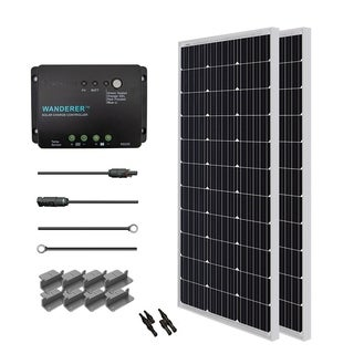 Solar Panel Starter Kit 200W with 2 100W Mono Sol Pan/ 20' Ad Kit/ 30A Chg Con/ MC4 Br Conn/ Z Br
