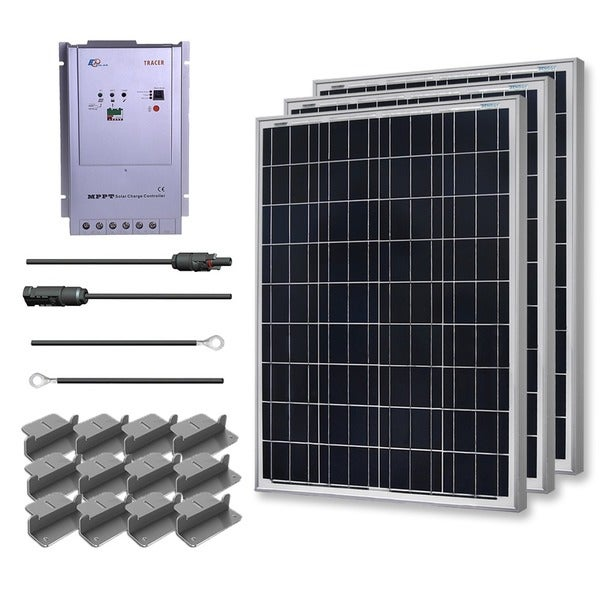 Renogy Premium Solar Panel Kit 300W with 3 100W Poly Panel/ 20 ft. Adapter Kit/ 40A MPPT Controller/ Z Bracket