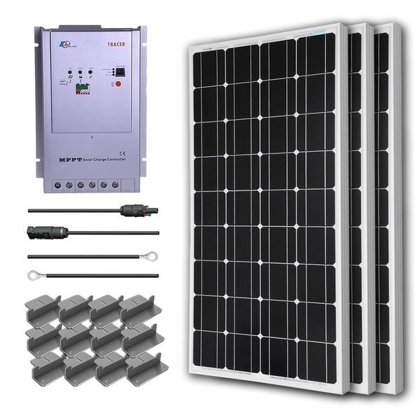 Renogy Premium Solar Panel Kit 300W with 3 100W Mono Solar Pan/ 20' Ad Kit/ 40A MPPT Chg Cont/ Z Bracket