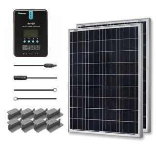 Premium Solar Panel Kit 200W with 2 100W Poly Solar Pan/ 20' Adapt Kit/ 20A MPPT Chg Con/ Z Bracket