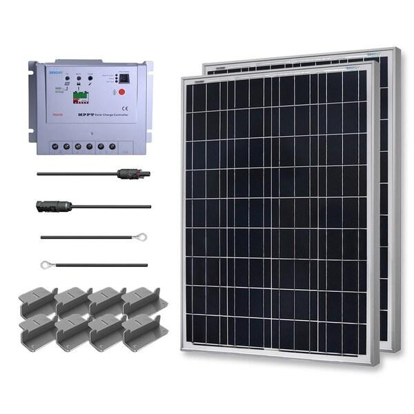 Renogy Premium Solar Kit: 200W Polycrystalline 12V with Two 100W Solar Panel/ 20' Adaptor/ 20A MPPT Controller/ Z Bracket
