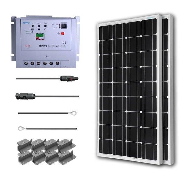 Renogy Premium Solar Kit: 200W Monocrystalline 12V with 2 100 W Mono Panel/ 20 ft. Adapter Kit/ 20A MPPT Controller