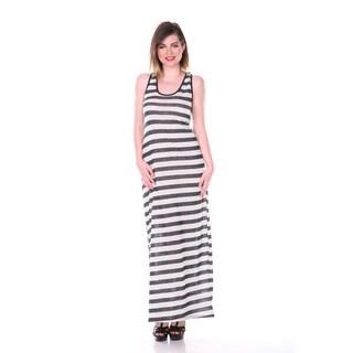 Stanzino Women's Plus Size Charcoal Striped Racerback Maxi Dress