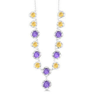 La Preciosa Sterling Silver Amethyst/ Citrine Flower Necklace