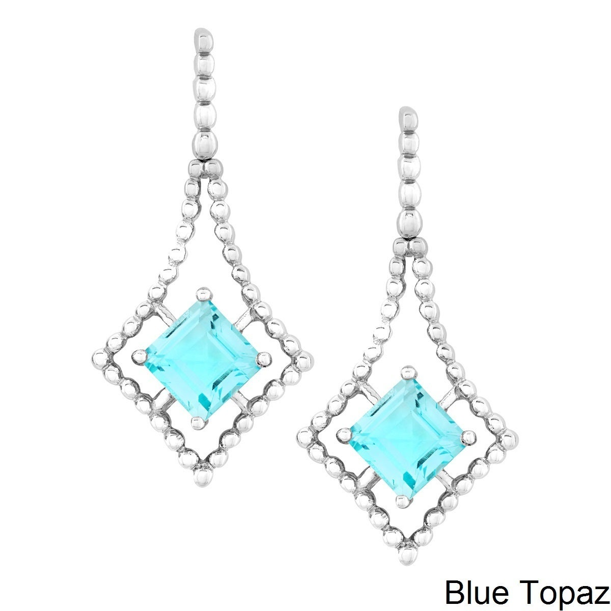 La Preciosa La Preciosa Sterling Silver Princess-cut Gemstone Dangle Earrings