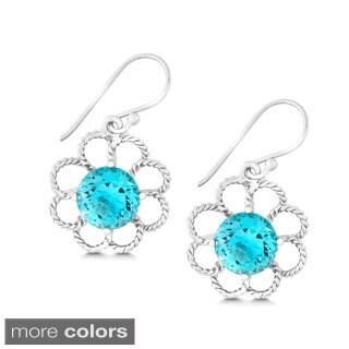 La Preciosa Sterling Silver Gemstone Round-cut Flower Earrings
