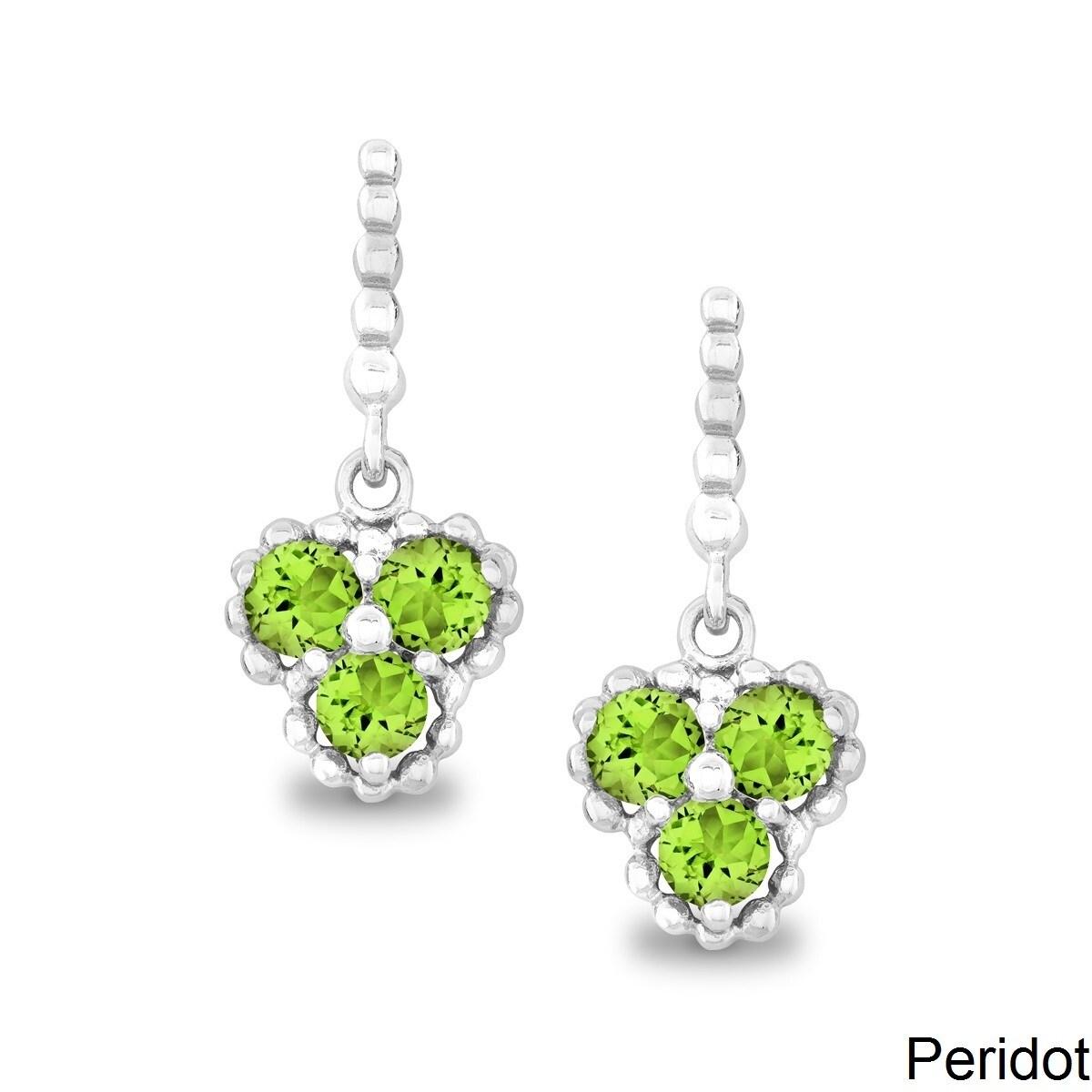 La Preciosa Sterling Silver Triple Gemstone Earrings