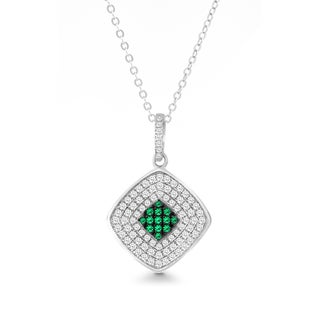 La Preciosa Sterling Silver White and Green Micro Pave Cubic Zirconia Square Pendant Necklace