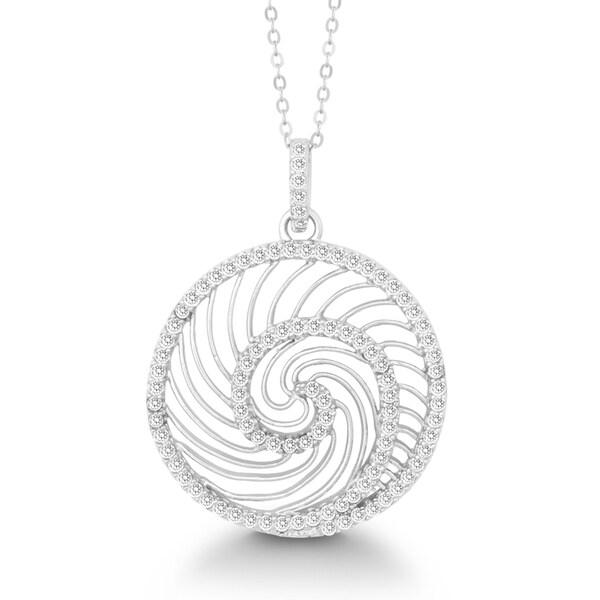 La Preciosa Sterling Silver Cubic Zirconia Swirl Circle Pendant
