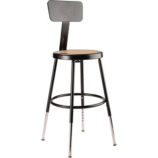 Adjustable Black Stool with Round Hardboard Seat and Backrest