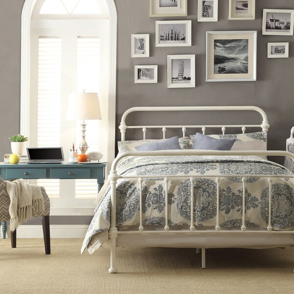 ... HOME Giselle Antique White Graceful Lines Victorian Iron Metal Bed