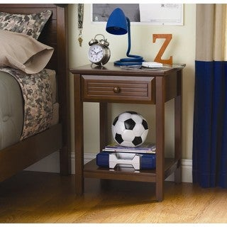 Dorel Living Kids Walnut 1-drawer Nightstand