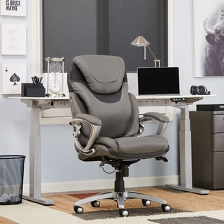 Serta AIR Health & Wellness Eco-friendly Bonded Leather Light Grey Executive Office Chair
