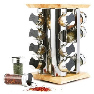 Orii Rubberwood/ Stainless Steel 16-jar Spice Rack Set