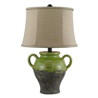 Somette Handcrafted Ceramic Green Lamp