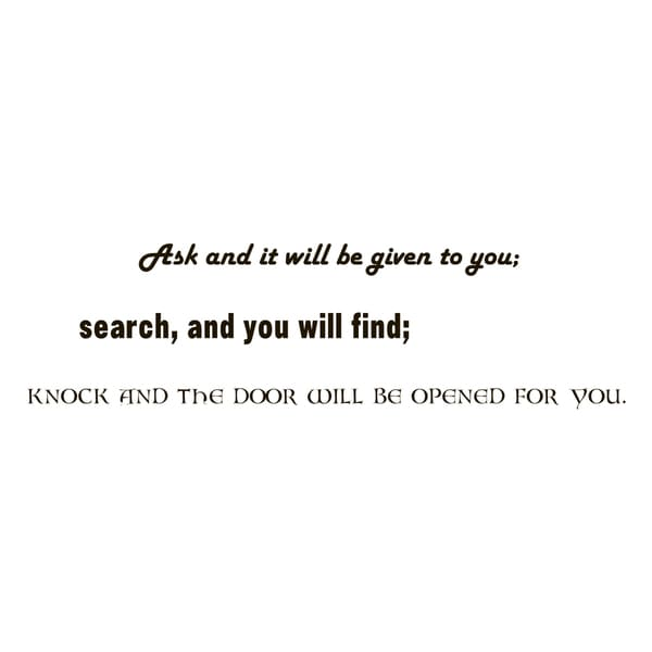 Knock And Door Will Be Opened Quote Vinyl Wall Art