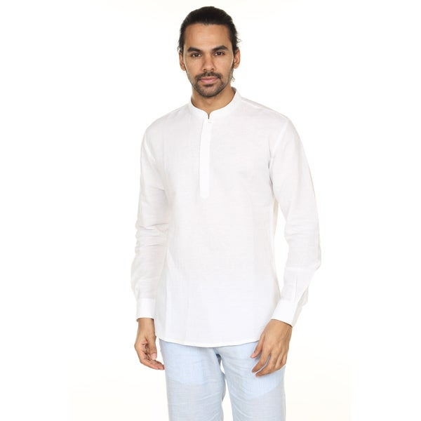 In-Sattva Anita Dongre Men's Pullover Tunic with Printed Mandarin Collar (India)