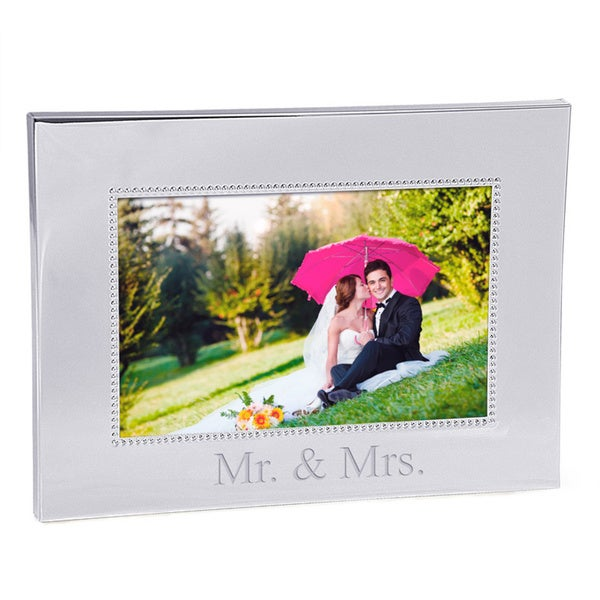 Mr. & Mrs. Beaded Silver 4x6 Picture Frame