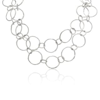 Michelle Lee Sterling Silver Double-row Link Necklace