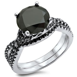 Noori 18k White Gold 2 3/5ct TDW Certified Black Diamond Engagement Ring Bridal Set (VS1-VS2)