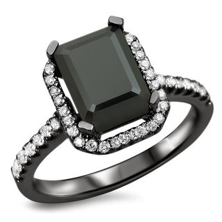 18k Black Gold 2 1/10ct TDW Black Diamond Emerald-cut Engagement Ring (VS1-VVS2)