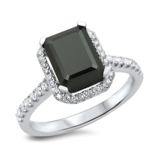 18k White Gold 2 1/10ct TDW Certified Black Diamond Emerald Cut Engagement Ring (VVS1-VVS2)