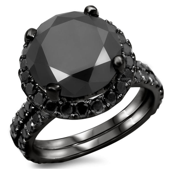 black gold 5 1 4ct tdw certified black diamond engagement ring bridal - Black Gold Wedding Ring Sets