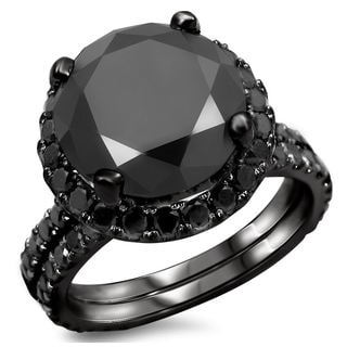 14k Black Gold 5 1/4ct TDW Certified Black Diamond Engagement Ring Bridal Set (VVS1-VVS2)