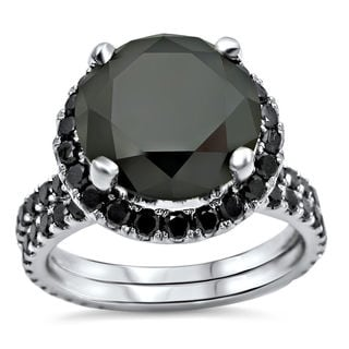 4ct TDW Certified Black Diamond Engagement Ring Bridal Set (VVS1-VVS2