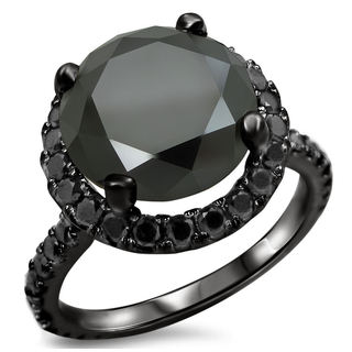 14k Black Gold 3 1/2ct TDW Certified Black Diamond Engagement Ring (VVS1-VVS2)