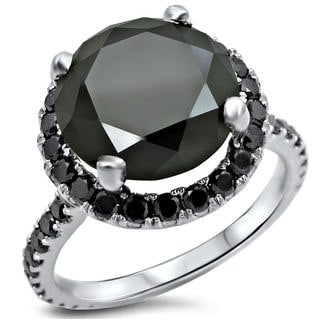 14k White Gold 3 1/2ct TDW Black Diamond Engagement Ring (VVS1-VVS2)