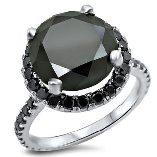 Noori 14k White Gold 4 4/5ct TDW Certified Black Diamond Ring (VVS1-VVS2)