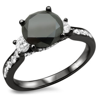 18k Black Gold 2 1/4ct TDW Certified Black and White Diamond 3-stone Ring (F-G, S1-S2)