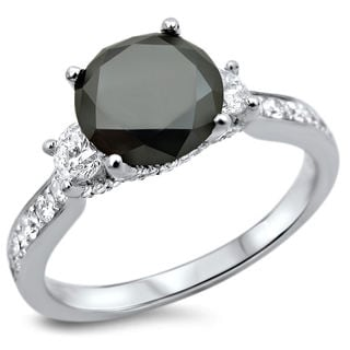 18k White Gold 2 1/4ct TDW Certified Black and White Diamond 3-stone Engagement Ring (F-G, SI1-SI2)