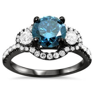 18k Black Gold 1 1/4ct TDW Certified Blue and White Diamond 3-stone Ring (F-G, SI1-SI2)