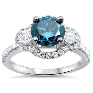 18k White Gold 1 1/4ct TDW Certified Blue and White Diamond 3-stone Ring (F-G, SI1-SI2)