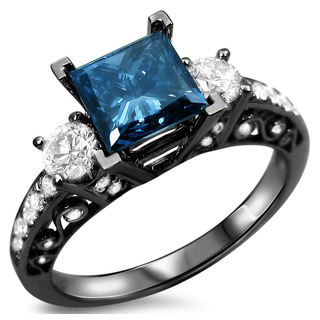 18k Black Gold 1 5/8ct TDW Certified Enhanced Blue and White Diamond 3-stone Ring (F-G, SI1-SI2)