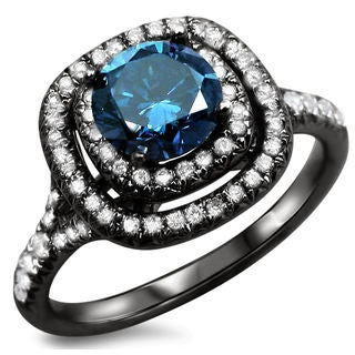 18k Black Gold 1 1/4ct Certified Blue Round Diamond Double Halo Engagement Ring (S1-S2)