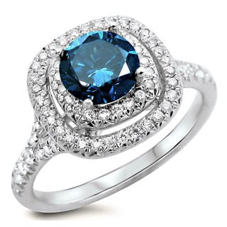 18k White Gold 1 1/4ct Certified Blue and White Round Diamond Double Halo Engagement Ring (F-G, SI1-SI2)