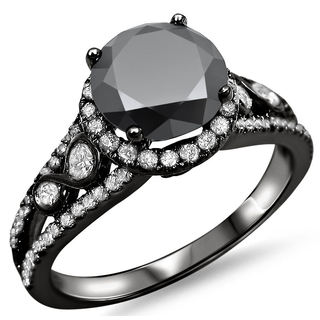 Noori 14k Black Gold 2ct Certified Black Round Diamond Halo Engagement Ring