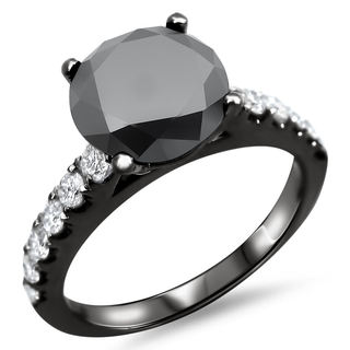 Noori 18k Black Gold 2 1/2ct TDW Certified Black and White Diamond Halo Ring (F-G, SI1-SI2)