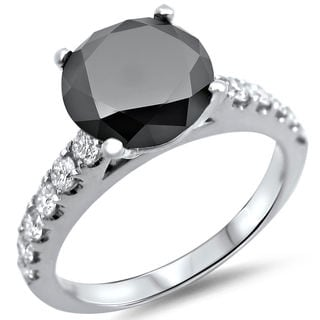 Noori 18k White Gold 2 1/5ct TDW Certified Black and White Diamond Halo Ring (F-G, SI1-SI2)