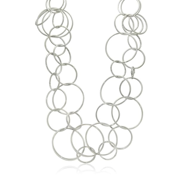 Gioelli Sterling Silver Graduated Circular Link Necklace