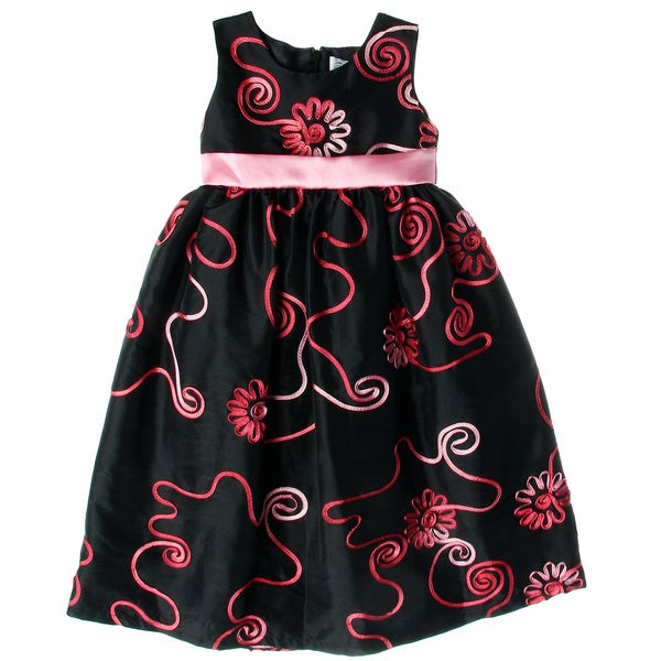 Sweetie Pie Girls Black and Fuchsia Floral Print Party Dress