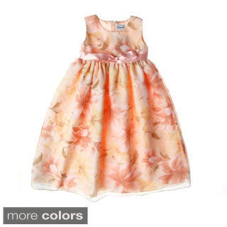 Sweetie Pie Girls Floral Printed Tissue Organza Dress