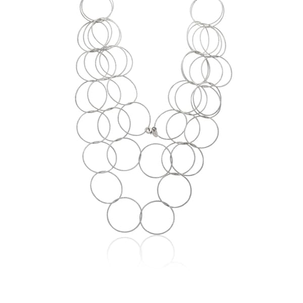 Gioelli Sterling Silver Double-row Circular Link Necklace